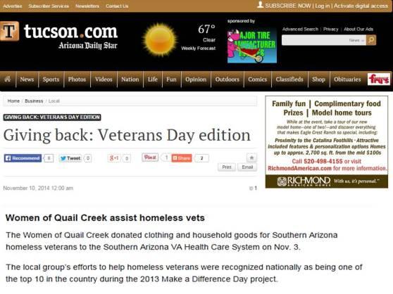 Giving Back to Vets_TWOQC_AZ Daily Star.Nov10.2014