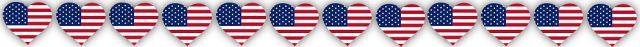 row of american flag_hearts