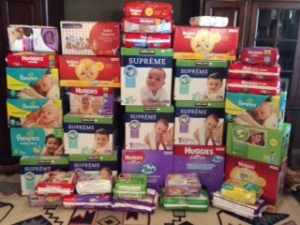 Diapers delivered May 1 by Unit 31 for Baby Shower June 2016