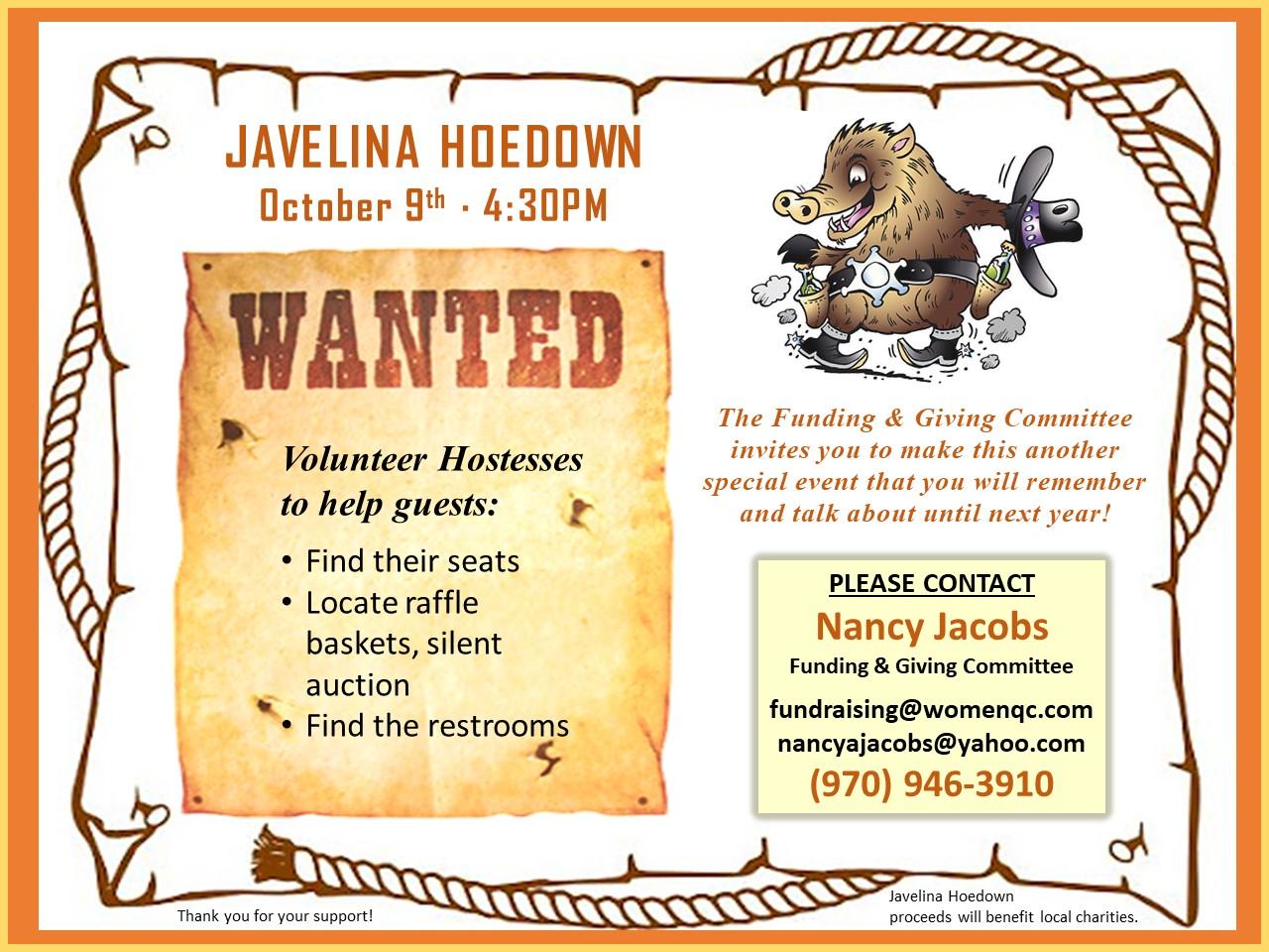Javelina Hoedown Volunteer Invitation 2021revB